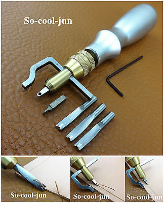 ONE Set Leather Craft 5in1 Adjustable Pro Stitching Groover Creasing Tool NEW