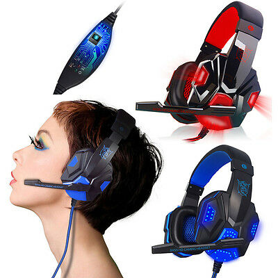 Surround Stereo Gaming Headset PC Auriculares Headphone USB 3.5mm LED with Mic