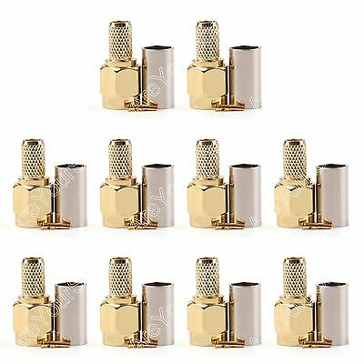 10Pc Connector RP.SMA Male Jack Crimp RG58 RG142 LMR195 RG400 Cable Straight