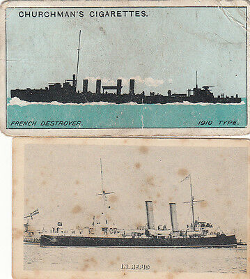 INTREPID/Silhouette French Destroyer Cigarette Cards c1903/15 by Cope/Churchman