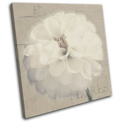Flower Abstract  Vintage SINGLE CANVAS WALL ART Picture Print VA
