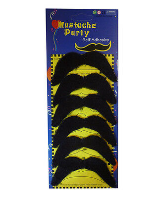 Pack of 6 Black Mexican 70's Stick on Fake Mustache Self Adhesive Party Joke