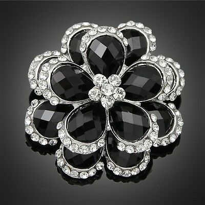 Beautiful Alloy Silver Plated Clear and Black Stone Flower Bouquet Brooch Pin