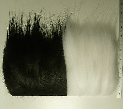 White or Black Extra Long Pile Yak Craft Fur, Fly Tying Material