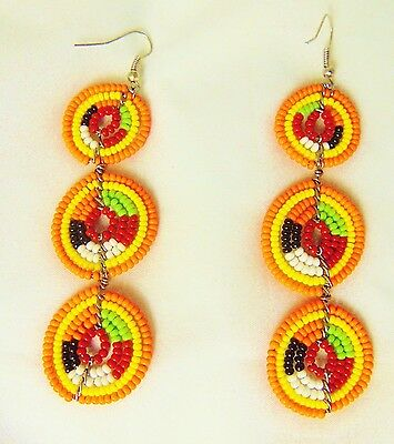 African Maasai Masai Handmade Beaded Earrings Multi-color Kenya Fashion Jewelry