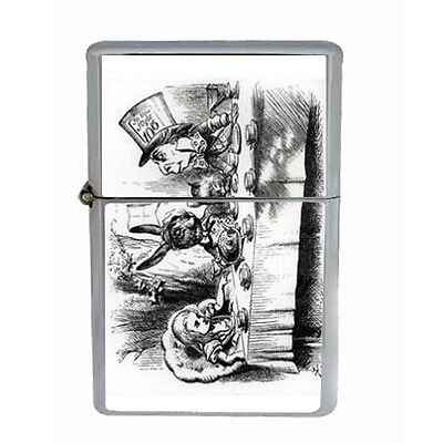 Alice In Wonderland Tea Windproof Refillable Oil Lighter with Gift Box Art D 32