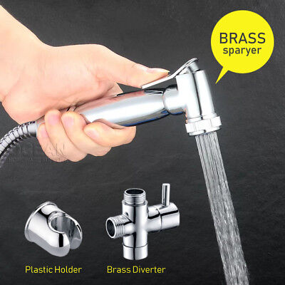 OZ Douche Brass Chrome Bidet Toilet Spray Jet Hand Held Shower Head Shattaf Kit