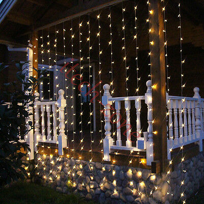 3x3M Warm White 300 LED Waterflow Curtain Fairy String Lights Hanging Background