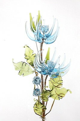 Birthday Gift Blue Glass Flower Lovely Decoration For Living Room Study Bedroom