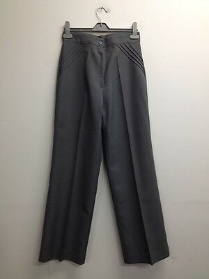 Vintage Courtaulds Lirelle Grey High Waisted Smart Wide Leg Trousers Uk S  Q497