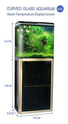 New 65L Aquarium Fish Tank Curved Glass Cabinet Set Filter Pump LED Light Black