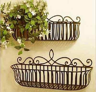 Wrought Iron French Style Wall Mount Flower Pot Plant Holder Window Box Size L
