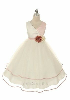 New Rose Flower Girl Dress Pageant Wedding Bridesmaid Formal Birthday Party 308