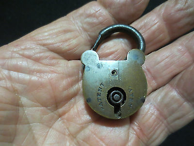 "Antique Brass And Metal Small Padlock Marked "" Patent "" For Parts Sold As Found"