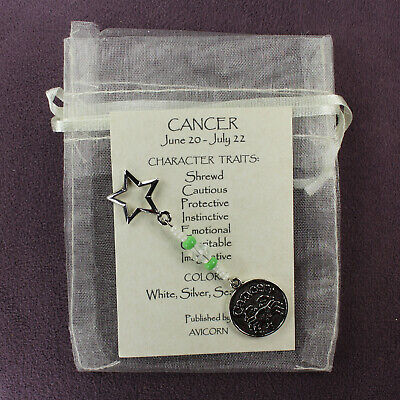 CANCER ZODIAC CHARM Amulet Astrology Stars Sun Signs Planets Horoscope Traits
