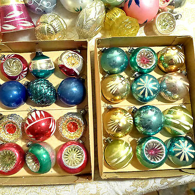 Box 24 Antique Vtg JAPAN Glass Xmas Ornament Bumpy Indent Paint Cobalt Embossed