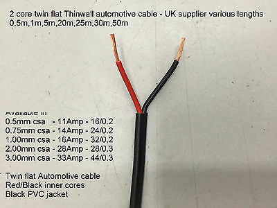 12v/24v 2core Thinwall twin flat auto cable 0.5mm, 0.75, 1, 2, 3mm red/black
