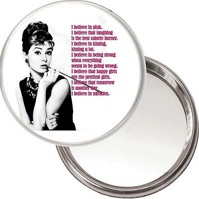 "Audrey Hepburn Makeup Mirror ""I Believe in Pink..."" in a black organza bag. NEW"