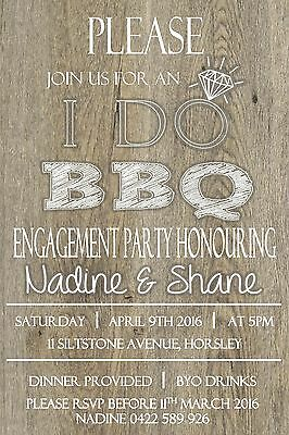 Engagement I Do BBQ Party Invitation Invite Wedding Timber Rustic Wood