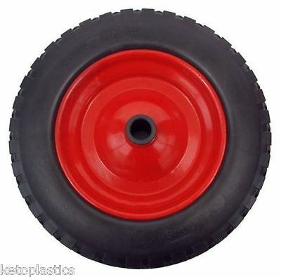 """PU 16"""" METAL Puncture Proof SOLID Wheel Barrow Tyre 4.80 - 8 WITH 20MM BORE"""