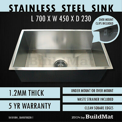 700x450x230 Single Bowl Stainless Steel Kitchen Sink Laundry Trough Basin Square