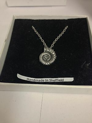 Ammonite Fossil AKR Emblem on Silver Platinum Plated Necklace 18""