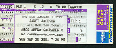 2001 Janet Jackson unused full concert ticket All For You Tour Sacramento CA