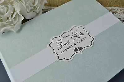 Wedding Guest Book - Heart Design - Subtle Aqua Colour - Wedding Day Guest Book