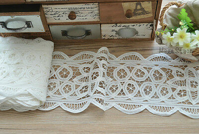 6.5 Yards Battenburg Lace Trim Lot Victorian White Floral