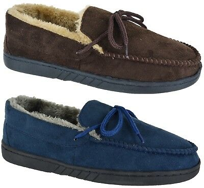 New Mens Leather Upper Suede Flat Hard Sole Moccasin Warm Slippers Sz 6-12 Sale
