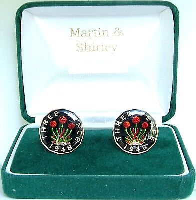 1948 Threepence cufflinks from real coins Black & Gold & Colours