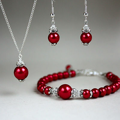 Red vintage pearls crystals necklace bracelet earrings wedding party silver set