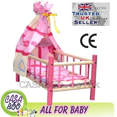 Large Wooden toy bed cot for dolls with bedding and canopy preschool girl's toy