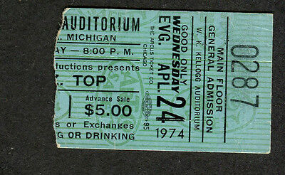 Original 1974 ZZ Top concert ticket stub Kellogg Battle Creek MI Tres Hombres