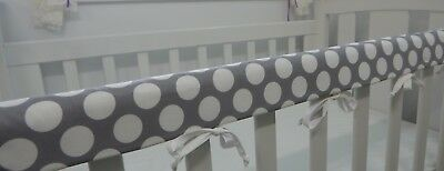 Baby Cot Crib Rail Cover Teething Pad - Spots White Grey Large Dots **REDUCED**