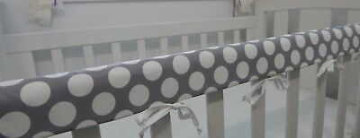 Baby Cot Rail Cover Crib Teething Pad - Large Spots on Grey **REDUCED**