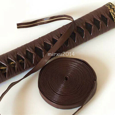 Brown Synthetic Leather Ito Wrapping Cord for Japanese Samurai Sword Katana