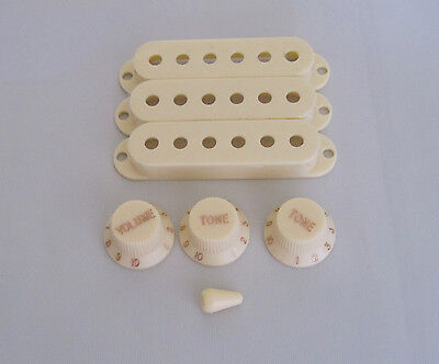 3 Sets Aged White Strat Knobs,ST Pickup Covers & 5 Way Switch Tip Fits Fender