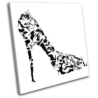 Retro High Heels Pattern Abstract SINGLE CANVAS WALL ART Picture Print VA