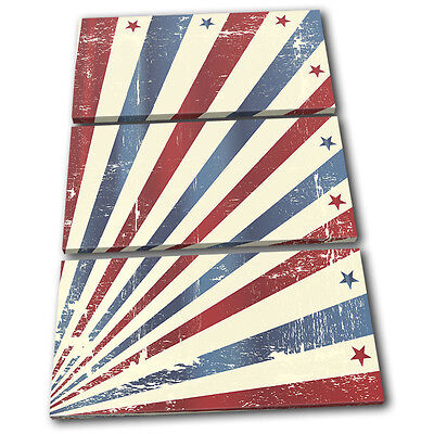 Retro Vintage USA Abstract TREBLE CANVAS WALL ART Picture Print VA