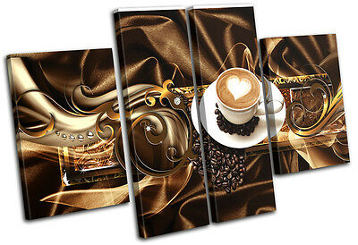 Modern Coffee Abstract MULTI CANVAS WALL ART Picture Print VA
