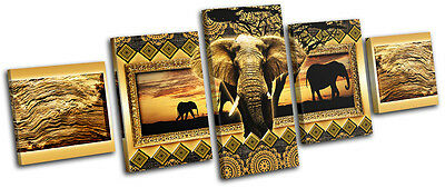 Modern African Abstract MULTI CANVAS WALL ART Picture Print VA
