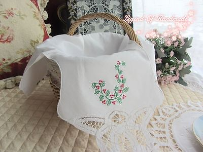 Handmade Battenburg Lace Basket Cloth Liner/Bread Cover~White~Cotton~Red Cherry~