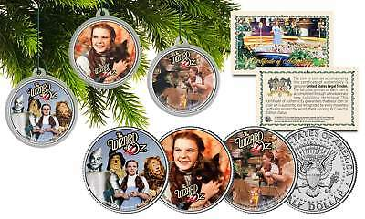 WIZARD OF OZ CHRISTMAS Colorized JFK Half Dollar U.S. 3-Coin Set Tree Ornaments