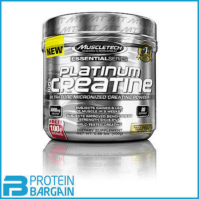MuscleTech Platinum 100% Ultra-Pure Micronized Creatine Powder 400g 80 servings!