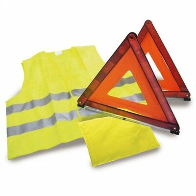 Set Kit  Emergencia 2 Triangulo + Chaleco Reflectante Homologado Coche Con Funda