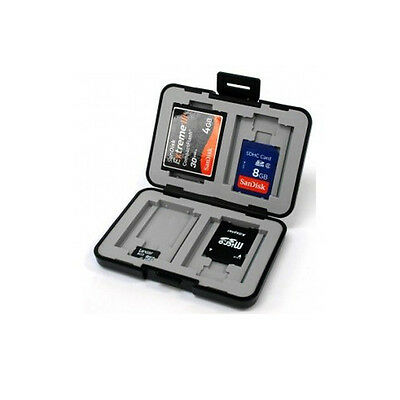 Memory Card Case Holder 4xCF 4xSD 4xMicroSD Water Resistant Anti-Shock Silver