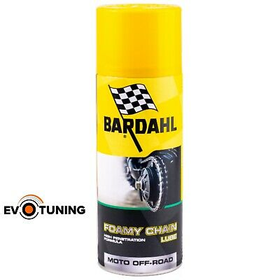 Grasso Spray Catena Moto Cross Enduro Fuoristrada BARDAHL Foamy Chain Lube 400ml