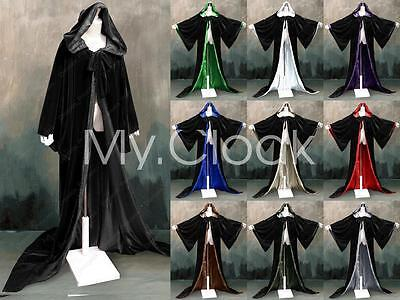 Stock Black Halloween Wizard Robe Hood Cloak Wicca LARP Goth Costume Size S-6X