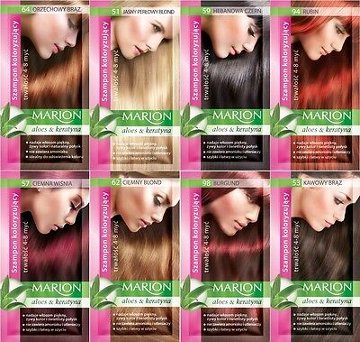 Marion Hair Color Shampoo in Sachet - Lasting 4-8 Washes - With Aloe & Keratin